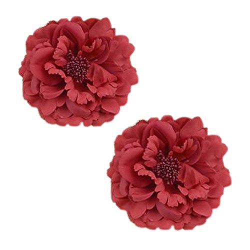 2PCS élégant fleur cheveux cheveux clip décoration pour les dames,Rouge