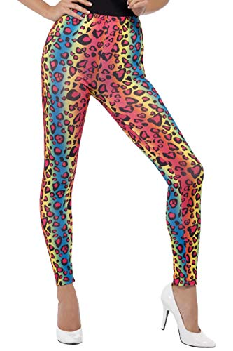 Smiffys Damen Neon Leoparden Print Leggings, One Size, Mehrfarbig, 26673