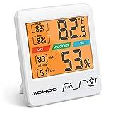 MOHOO Termómetro Higrómetro de Interior Termómetro Higrómetro Digital Medidor de Temperatura y Humedad con Retroiluminación para Habitación Hogar Invernadero