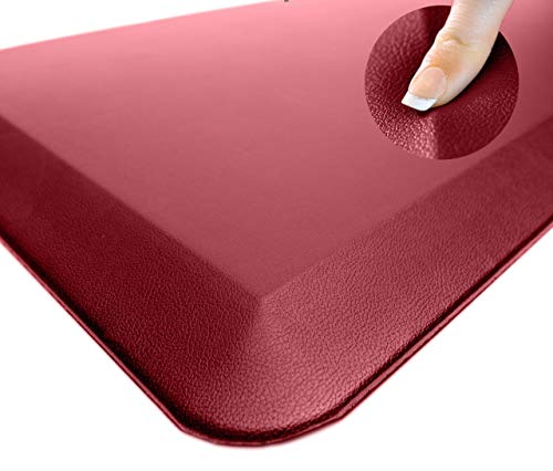 Sky Solutions Oasis Anti Fatigue Mat - Cushioned Comfort Floor Mats For Kitchen, Office & Garage - Padded Pad For Office - Non Slip Foam Cushion For Standing Desk (20x39x3 4-Inch, Red)