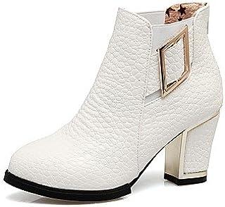 venta al por mayor barato Heart&M Mujer Zapatos Semicuero Invierno botas botas botas de Moda botas hasta el Tobillo botas Tacón Robusto Dedo rojoondo Botines Hasta el Tobillo Hebilla  marca en liquidación de venta