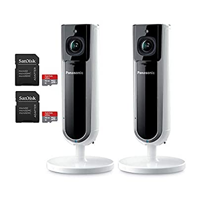 Panasonic Homehawk Indoor Smart Home Security Camera with Sandisk 16GB MicroSD 1080P HD, Privacy Shutter, Wide Angle, Night Vision - 2 Pack Bundle (2 Items)