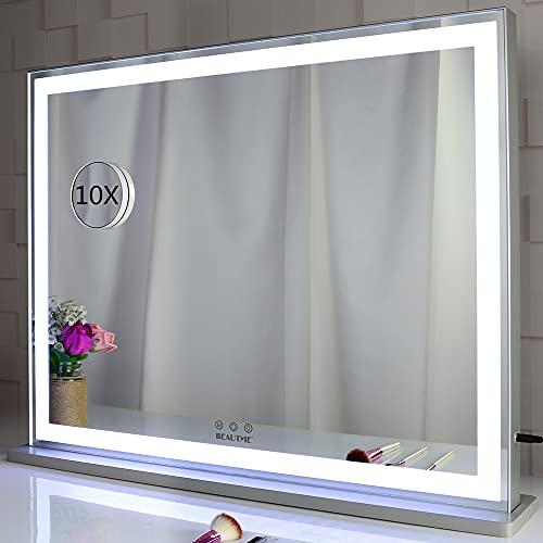 BEAUTME Espejo de tocador con luces LED retroiluminadas, espejo de maquillaje Hollywood para vestidor y dormitorio, 3 modos de color con atenuador, plateado(L28.3x22.1 inches)