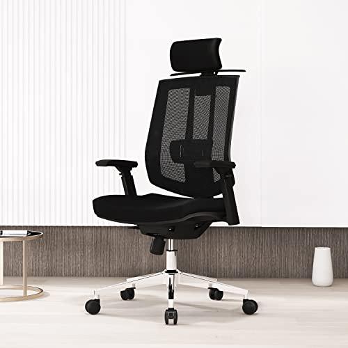 AMILZ Silla de oficina ergonómica, silla para ordenador con soporte lumbar, silla giratoria de malla con respaldo alto, reposacabezas, respaldo y reposabrazos ajustables, con perchero