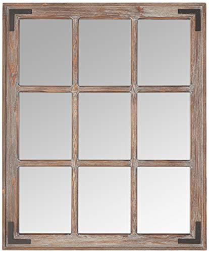 Stone & Beam Vintage Wooden 9-Grid Wall Mirror, 34.75'H, Dark Stain