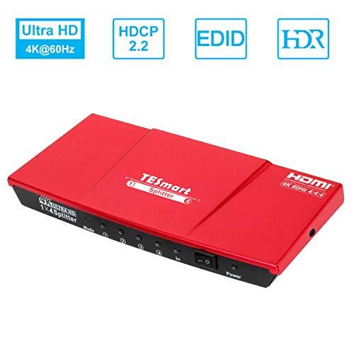 TESmart HDMI Splitter 4K V2.0 Certificado, 1x4 HDMI Splitter 1 Entrada 4 Salidas, Splitter HDMI 1 a 4 Amplificador Switch Box Hub Alimentado con Ultra HD 4Kx2K @60Hz 4:4:4 con Soporte EDID (Rojo)…