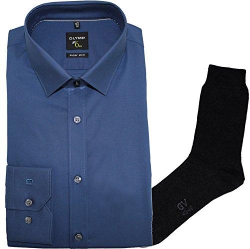 OLYMP Herrenhemd No6 six, super Slim, Urban Kent, blau + 1 Paar hochwertige Socken, B&le