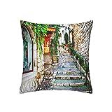 ADONINELP Throw Pillow Cubre Las Calles de un Antiguo Pueblo...
