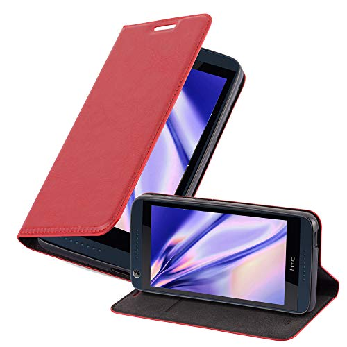 Cadorabo Hülle für HTC Desire 626G - Hülle in Apfel ROT – Handyhülle mit Magnetverschluss, Standfunktion und Kartenfach - Case Cover Schutzhülle Etui Tasche Book Klapp Style
