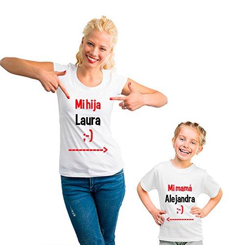 Regalo Personalizable para Madres: Pack de Camiseta para mamá + Camiseta para Hijo/a o Body para bebé 'Mi mamá' Personalizados con Sus Nombres