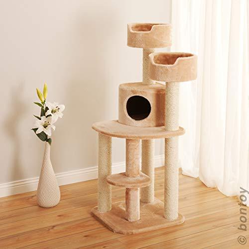 Bontoy Kratzbaum Jerry Creme 126 cm, mit 2 Liegekörbchen 35 X 15cm, Sisalstämme mit 9cm Durchmesser. Viel Platz zum entspannen und Spielen.