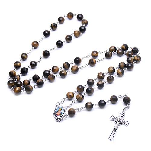 KLOVA Collar de Rosario, Cuentas de oración de Rosario, Collar de Piedra de Ojo de Tigre, Cruz Cristiana, Amuleto de la Suerte, joyería, Regalo para Hombre y Mujer