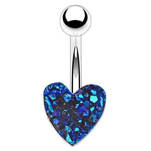 OUFER Herz blau Druzy Bauch Bars 14g 316L Edelstahl Bauchnabel Piercing Bar Einzigartige Bauch Button Ring