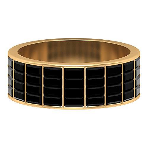 Rosec Jewels - 14 Kt Gelbgold Baguetteschliff Black Künstlicher schwarzer Diamant.