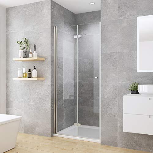 welmax Rahmenlos Duschabtrennung Nische Duschkabine 100cm Falttüren Duschtür Nischentür Dusche 6mm ESG Sicherheitsglas Höhe 185cm