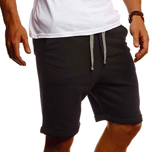 Leif Nelson Herren Kurze Hose Sommer Shorts Baumwolle Männer Jogginghose Freizeit Sport Fitness Training Cargo Bermuda LN8352 Schwarz Medium