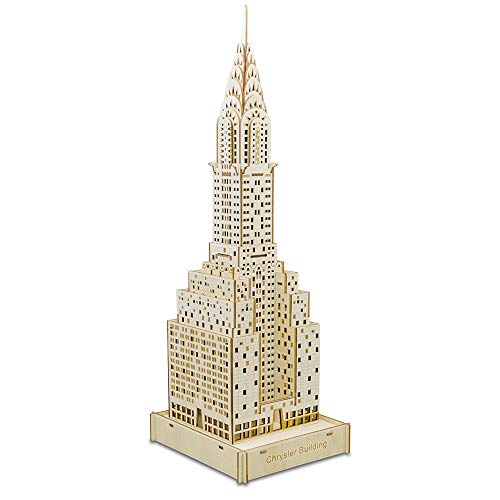 SXPC 3D Wooden Puzzle Laser Cutting DIY Chrysler Building Model Building Learning Education Assembly Kit Gift