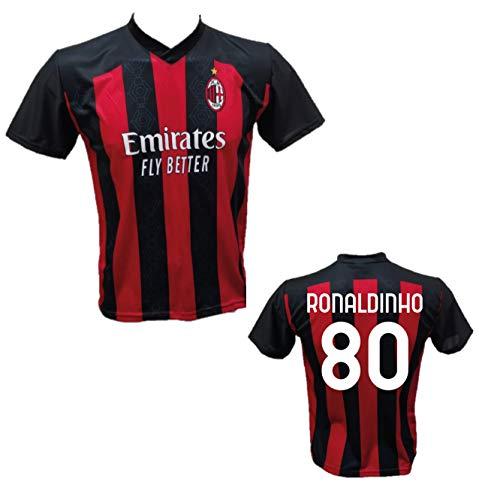 DND Di D'Andolfo Ciro Maglia Calcio Ronaldinho 80 A.C. Milan Home Replica autorizzata 2020-2021 Taglie da Bambino e Adulto (S (Adulto))