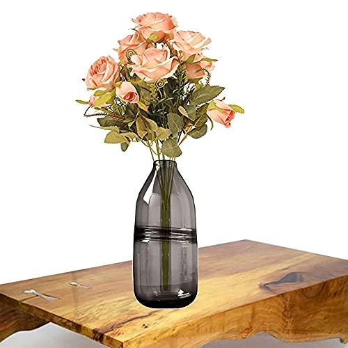 LXLAMP florero Cristal Alto,jarrón jarrones Decorativos de Suelo Altos Florero Decorativo,Florero para Boda,Hogar,Oficina (Color : Gray)