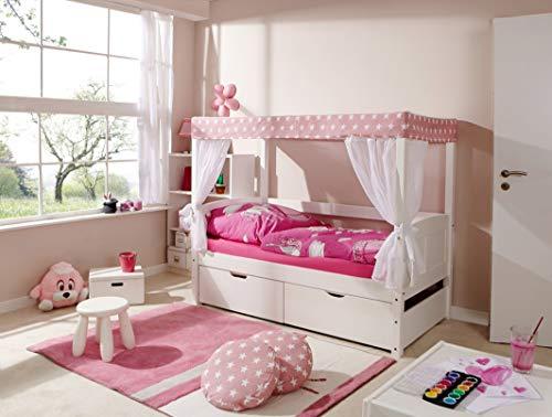 Ticaa Himmelbett Mini mit Bettkasten Stern Rosa Kiefer Weiß
