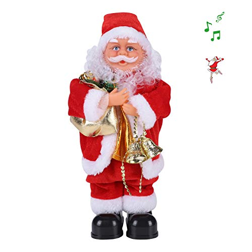 Musical Santa Claus Doll Toy Electric Santa Claus Figure Singing and Dancing Santa Claus Stepping Santa Claus Father Christmas Ornaments Christmas Decoration For Table Desk Fireplace Xmas Santa Gift