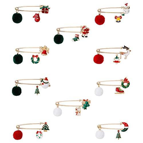 PRETYZOOM 10 Sets Christmas Brooch Pins Santa Claus Lapel Pins Cartoon Enamel Brooch Collar Pins Xmas Holiday Jewelry Party Favors(random style )