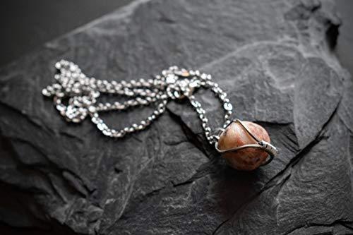 Halskette mit Stein aus Frankreich Natur Witchy keltisch Festivalschmuck Magie Edelstahl Minimalistisch schlicht medival Strand