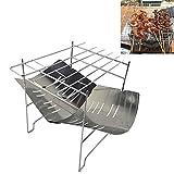 N/D Wshawn Durable accampamento Esterno Portatile Pieghevole in Acciaio Inossidabile Barbecue Charcoal Grill (Argento) (Color : Silver)