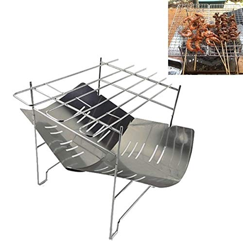 Outdoor Camp tragbare Falten Edelstahl Grill-Holzkohle-Grill (Farbe: Silber), ChenYanDong (Color : Silver)