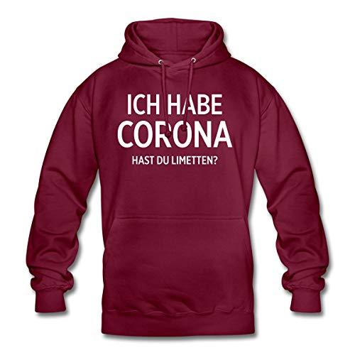 Ich Habe Corona Hast Du Limetten Spruch Unisex Hoodie, L, Bordeaux