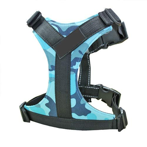 Durable Reflective Nylon Groß Fressnapf Hundegeschirr Einstellbare Hundeweste Harness for Small Medium Large Hunde Pitbulls Französisch Bulldog (Color : Blue Camouflage, Size : L)