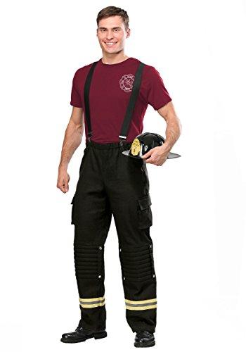 Firefighter Adult Costume Men's Fire Captain Costume X-Large Black