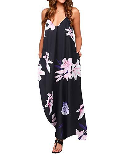 ZANZEA Mujeres Casual Elegante Algodón Vestido Suelto Largo Playa Lunares Cuello V Sin Mangas Negro EU 48