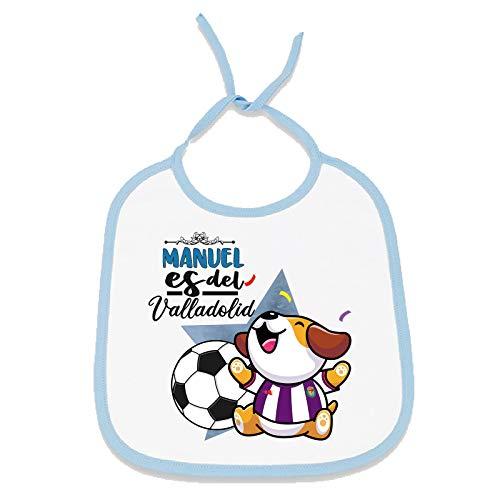 Yujuuu Babero personalizado con nombre o texto. Niño o Niña. Regalo Original. (perrito equipo de fútbol Valladolid chico)