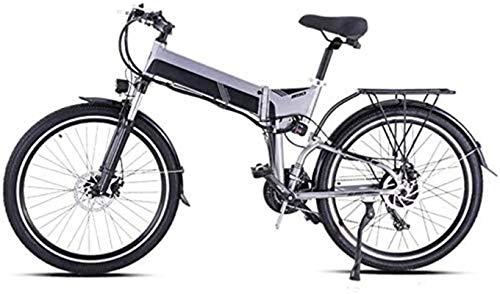 PIAOLING Leggero Fat Tire Bike Elettrico con Pedal 21 velocità Montagna Bicicletta elettrica Assist Batteria al Litio del Freno a Disco (26inch 48V 500W 12.8A) Clearance di inventario (Color : Grey)