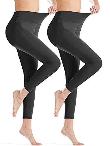 Gnpolo Womens Black High Waisted Plus Size Leggings 2 Pack Soft Slim Tummy Control Yoga Pants Trousers
