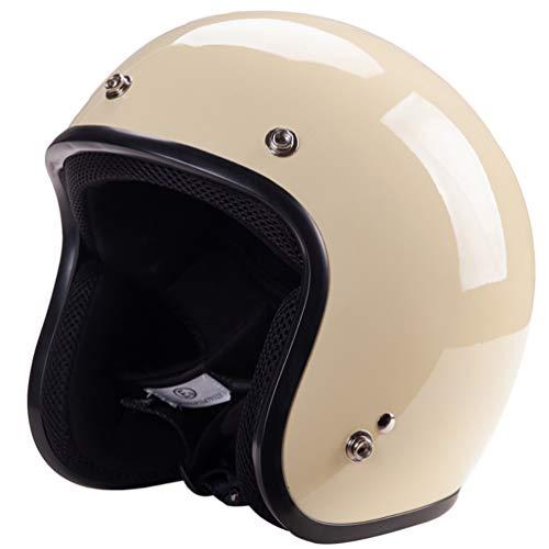 YHNMK Casco Retro 3/4 Half Open Face Casco Moto Jet Casco Vintage Casco Moto Capacete Motociclismo Vintage Casco Moto Dot Color Blanco