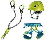 EDELRID Klettersteigset Cable Kit Lite 6.0 + Gurt Jay III Größe M + Kletter-Helm