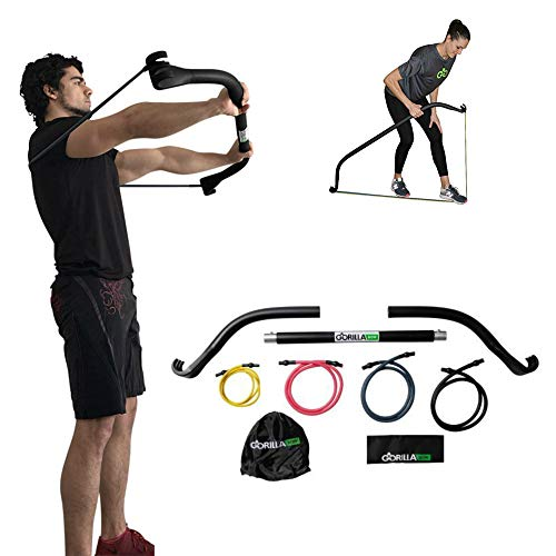 Gorilla Bow Portable Home Gym Resistance Band System, Weightlifting and HIIT Interval Training Kit, Full Body Workout Equipment (Travel Black)
