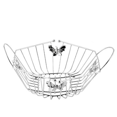 Cabilock Metall Obstkorb Drahtkorb Gemüsekorb Schmetterling Muster Obstschale Korbschale Schlüsselschale mit Griff für Küche Geburtstag Halloween Weihnachten Hochzeit Party Tischdeko Silber