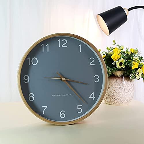 Sweetdreaming掛け時計おしゃれ壁掛け時計アナログ静音かけ時電池式時計壁掛け北欧掛時計シンプル木製インテリア時計大数字見やすいホームスタイリッシュパーソナリティウォールウォッチ(グレー)