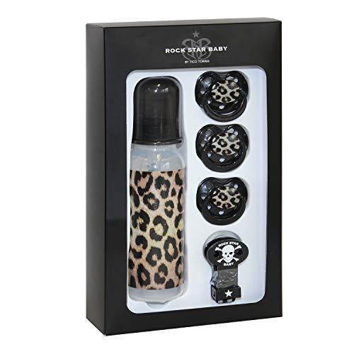 ROCK STAR BABY by Tico Torres Geschenkset für Babys ab 6 Monate - 5 teilig: 3 Schnuller, 1 Schnullerband, 1 Babyflasche 250 ml | Leopard