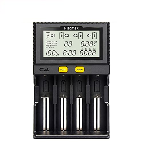 MKIU Universal LII-s2 Battery Charger, LCD Universal Intelligent USB 4 Slot 18650 Charger for 18650 26650 21700 Aa AAA 3.7v/3.2v/1.2v Lithium Nimh Battery