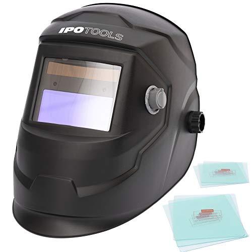 IPOTOOLS J500A automatyczny przyłbica spawalnicza, w pełni regulowany solarny kask spawalniczy, 2 wysokiej jakości czujniki, duże pole widzenia (92 × 42 mm) do wszystkich zastosowań spawalniczych z poziomami ochrony DIN 4/9-13