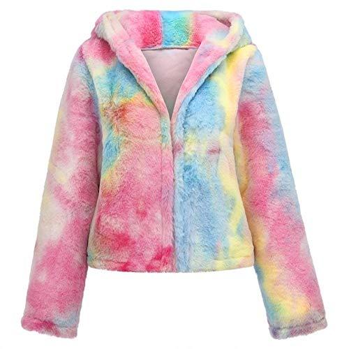 SHOUBANG Mantel Pelzigen Pelzmantel Frauen Flauschige Warme Langarm Farbverlauf Oberbekleidung Herbst Wintermantel Jacke Haarigen Kragenlosen Mantel