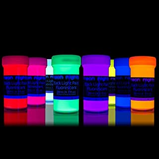 neon nights 8 x Black Light Paints Neon UV Fluorescent Wall Paint