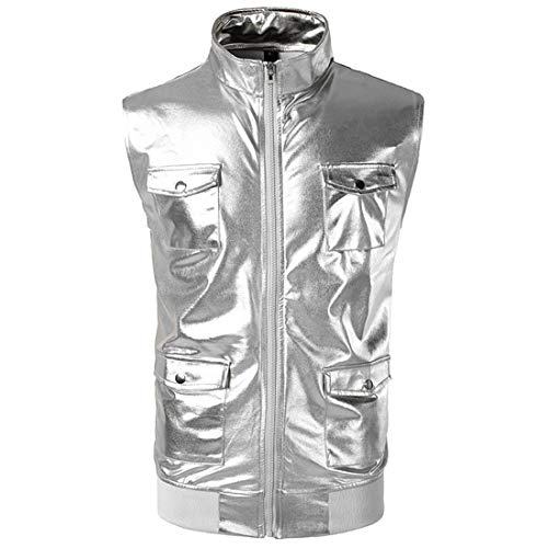 ZGRNPA Männer Slim Fit weiche Leder Weste Hoodie Känguru Tasche Metallic Shiny Glitter Tops Nachtclub Party Tanzen Disco Club Weste Party Mantel Tanz Tops Disco Uni Bomber Shirt Party Kostüm