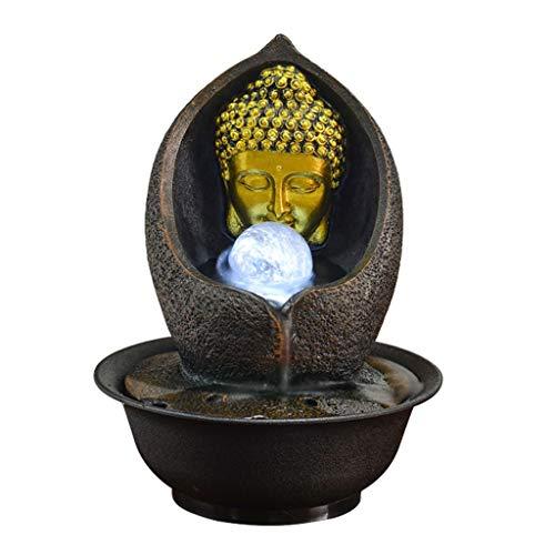Fuentes Decorativas Fuente de Buda de interior - Fuente de agua de mesa Zen Escultura de Buda de oro y agua circulante Decoraciones de interior for la meditación de relajación del sueño Fuente Interio