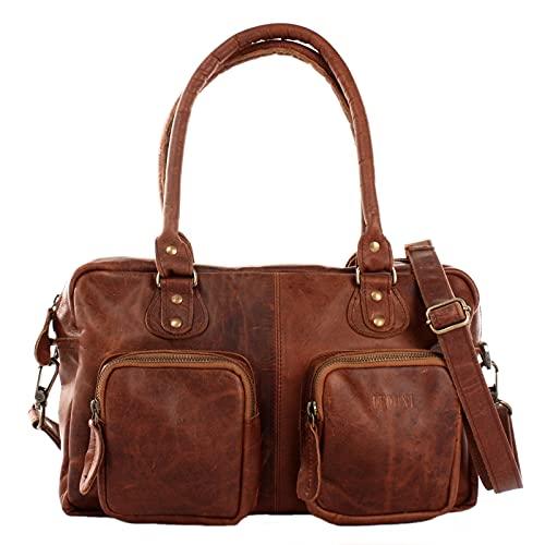 LECONI Schultertasche aus Rinds-Leder Henkeltasche Damentasche für Shopping, Arbeit und Freizeit Used-Look Damen Natur Handtasche Frauen Ledertasche 33x21x9cm braun LE0046-wax