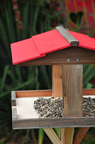 Futterhaus für Vögel,groß-XXL,DACH ROT / Vogelhaus,wetterfest IN ANTHRAZIT (SCHWARZLASUR),BKHI-VIERDAROT-at001 große Futterfläche + Dach,mit ständer,3D- -,Vogelfutterhaus,MIT-Futterstation Farbe schwarz lasiert,anthrazit / Holz natur,Ausführung Naturholz